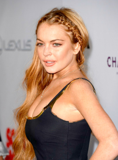 "Lindsay Lohan at the Hollywood premiere of ""Scary Movie 5"" on Thursday."