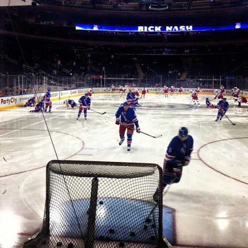 NY Rangers take the ice for warmups.  (via Photo by nyrangers • Instagram)