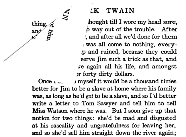 Dog-ear. From p. 294 of The Adventures of Huckleberry Finn by Mark Twain (1912). Original from the University of Michigan. Digitized June 27, 2007.