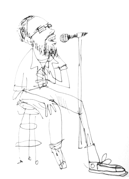Here's a sketch of my pal and fantastic songwriter Peter Diebold (http://www.facebook.com/peterjdiebold) singing at the Triple Crown in San Marcos. I just so happened to catch him on the tune where he was singing along to a mandolin (not doodled) but you'll usually see him banging or picking on ukuleles and guitars.