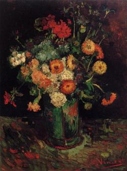 oilpaintinggallery:  Vase with Zinnias and Geraniums by Vincent Van Gogh