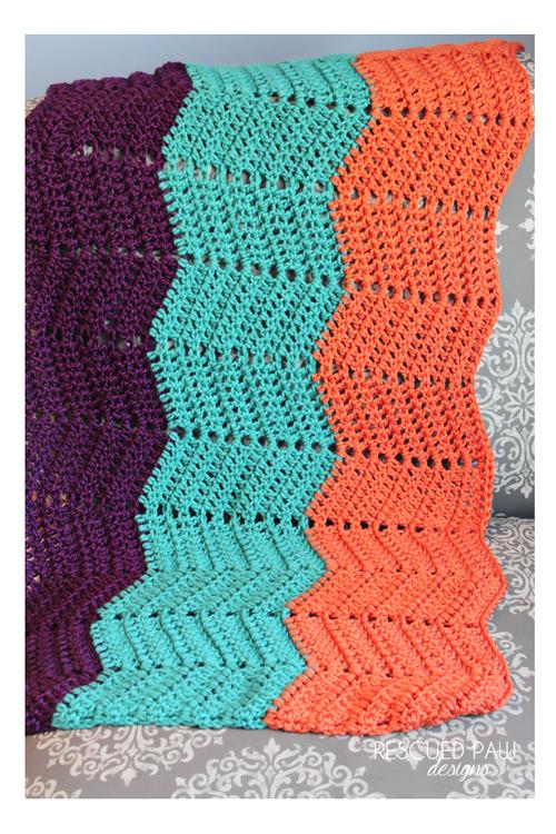 Crochet Ripple Blanket Progress Rescued Paw Designs Crochet