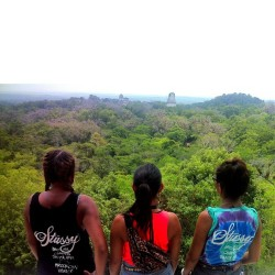 kimmayco:  We made it to Guatemala!! At the top of the highest Mayan temple in Tikal (called the two headed snake) looking over the other Mayan temples! #foodandlycra #thetwoheadedsnake #mayanruins #mayantemples #stussy #atmos @stussywomen