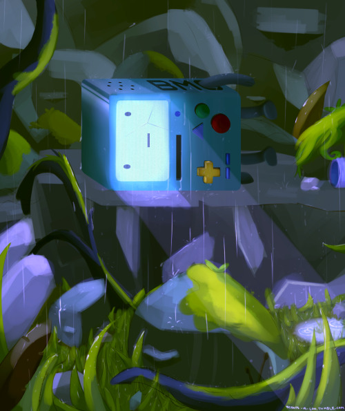 "adventure-machine:  ""Finding BMO"" (Some fanart of BMO Lost that I painted today! Totally not an original title.) absolute best adventure time posts"