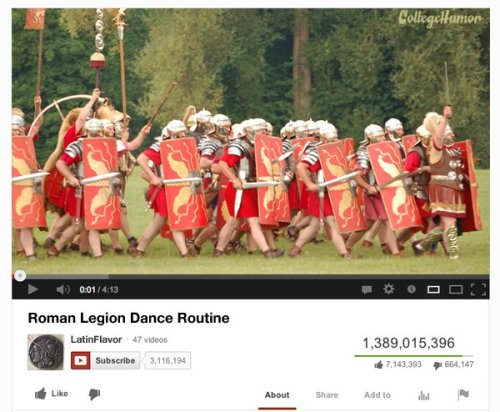 The Most Popular YouTube Videos of the Last 5000 Years [Click for more] 1. Pyramid slaves lose traction and the block drags them all the way down the ramp2. Indo-Aryan nomads freaked out by eclipse3. Unbelievable joust where a guy gets impaled on his opponent's lance, stays on, and the winning horse just keeps running with the weight of two guys4. Samurai trying to show off misses the mannequin and slashes the Emperor's robe5. Horse is sad after his owner dies at the battle of Agincourt Continue
