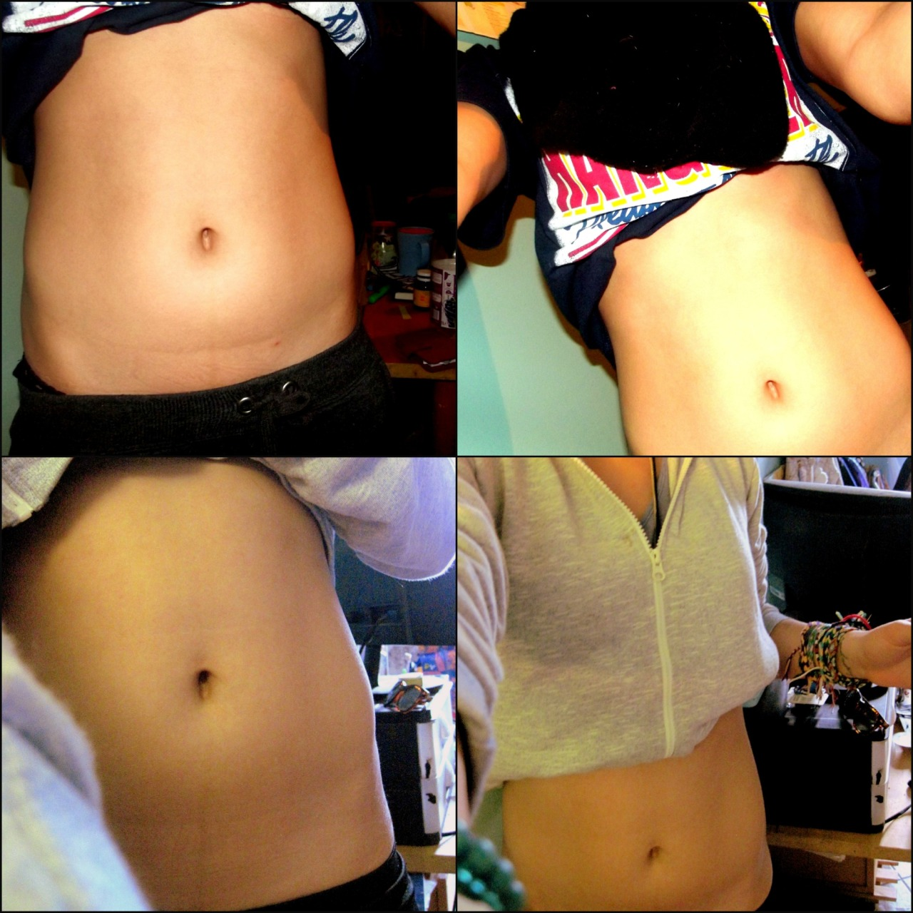 TOP PICS - 28 MARCH , BOTTOM - 3 MAY  So I said I'd be updating my keep healthy get ab challenge. Sorry for the late post it shall be explained soon :)  PHOTO TAKEN 3 MAY 2013 . IMPROVED ASPECTS  - Calf muscles that are more shaped  - You can tell the slight change through the 'cross line' I have on my belly , it has less of a bump. -Hip bones look sharper  - structure of the belly is much linear , less curvy I guess  -Firmer butt ( woop woop )  - Less desire for junky food  FAILEDDDDD ASPECTS  - 22nd april was my birthday so there was A LOT od drinking and smoking and sweeties  involved this month  - Had no softball during easter boo wooo  - Did my ab work outs first week of easter then gave up  Goals  - Keep doing softball till June  - try balance a healthy life and all the end of year assignments -.-  - stop smokinggggg ffs -.-  Next update  June 1 st :D