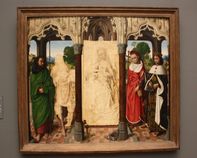Virgin and Child with Saints, circa 1472 by Netherlandish (Ghent) Painter (possibly Hugo van der Goes)   In the early seventeenth century the paint layers on the figures of the Virgin and Child and Saint John the Baptist were scraped off and repainted with a representation of the Marriage of Henry VII and Elizabeth of York. The later additions were subsequently removed, revealing the meticulous preparatory underdrawing in brush and pen for the original figures that is typical of Netherlandish practice. The authorship of this extremely fine painting is uncertain, although it has been ascribed to both Hugo van der Goes and to Jean Hey.