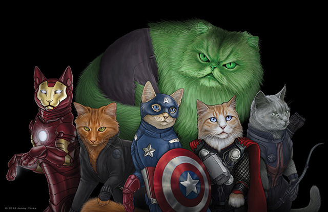 livercake:  Cats + Avengers = THE CATVENGERS (via Cats Illustrated as Comic Book Superheroes, Villains & Daryl Dixon by Jenny Parks)