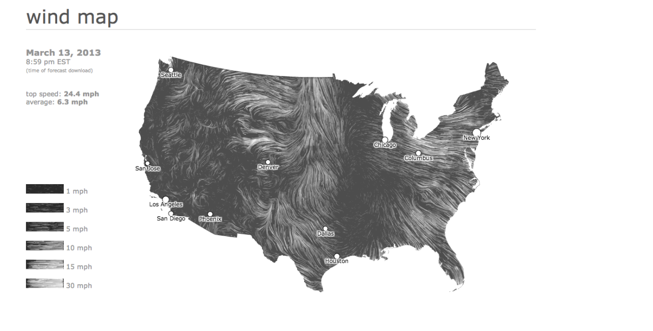 The static image above doesn't do these maps justice. Go see the Wind Map on the Hint.fm site to truly appreciate the design work from artists Fernanda Viégas and Martin Wattenberg.