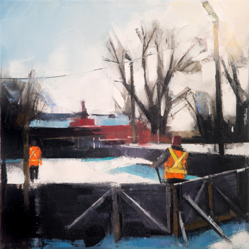Rink Maintenance, 16x16 on canvas.