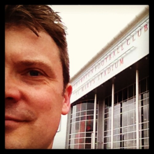 Half of me outside St Mary's Stadium.
