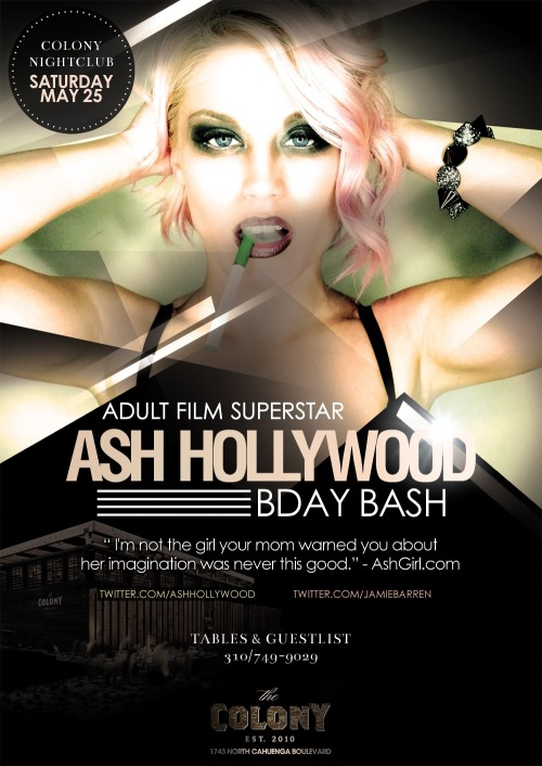 Adult Star Ash Hollywood Birthday at Colony NightclubJamie Barren presents Colony Hollywood Saturdays — May 25th 2013 celebrates the birthday of adult…View Post
