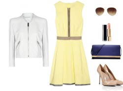 how to work: the yellow dress by cassandramcd   Mango  jacket/ Sergio Rossi nude high heel shoes / Michael Kors  handbag / Warehouse sunglasses,/ Chanel  lipstick / Victoria Beckham dress  me