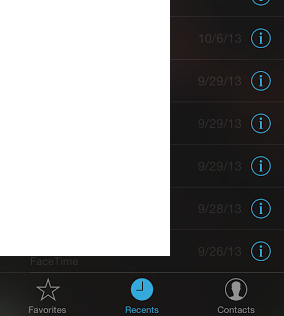 """In the Recents screen of FaceTime app, the call date is barely readable because the entire screen is """"layered"""" over a screen that displays what the camera is seeing. If you are in a dark room, this is what you get. This worthless effect unnecessarily detracts from usability."""