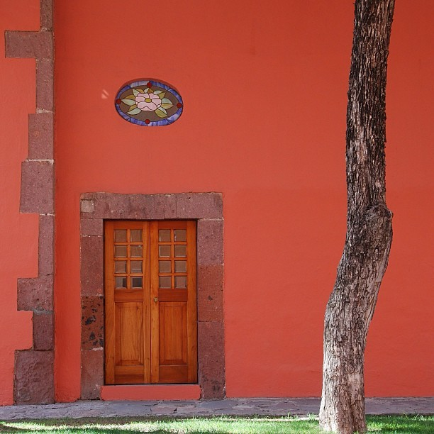 #mexico #sanmiguel #door #red #tree #flower #light #sun #stone #wood