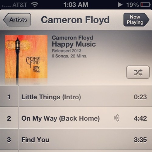 "It's here ladies and gents. Our new EP ""Happy Music"" is now available for download at cameronfloyd.bandcamp.com/album/happy-music. I'd like to thank God for blessing us and thank you all for the support! Spread the word. #music #band #life #love #guitar #vocals #EP #free #musicians #Awesome #iTunes #bandcamp #iphone #college #chill #wonderful"
