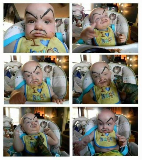 Drawing Eyebrows and a Mustache on Your Baby is The Best Thing You Can Do For it Whose gonna be a big bad villain when they grow up?