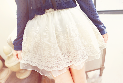 yummmiiee:  Flower Bubble Lace Skirt:  ✿