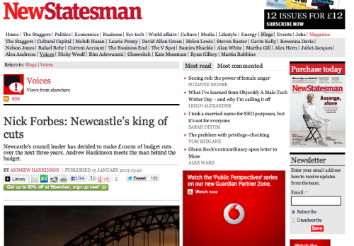 A piece for the New Statesman about the cuts in Newcastle after the city started to attract national media and political attention - the phrase 'doing a Newcastle' has taken off, and it's not meant in a good way.