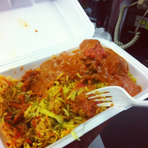 I am disgusting. But it's so good. #indianfood for #lunch and now the office will smell like #butterchicken and #biryani till we come back on Tuesday.