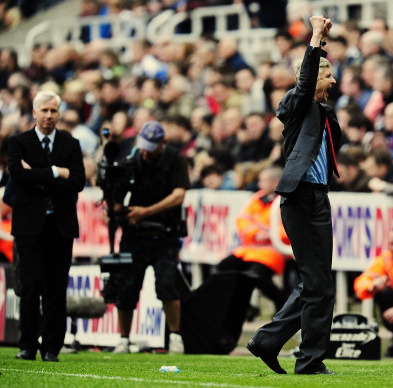 gunnerproud:  NEWCASTLE UPON TYNE, ENGLAND - MAY 19: Manager Arsene Wenger of Arsenal celebrates at the final whistle during the Barclays Premier League match between Newcastle United and Arsenal at St James' Park on May 19, 2013 in Newcastle upon Tyne, England. (Photo by Stu Forster/Getty Images)