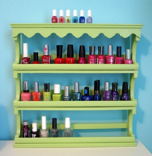 "Beauty Organization ""Spray paint a spice rack and turn into a polish rack.""  Click the photo for content source."