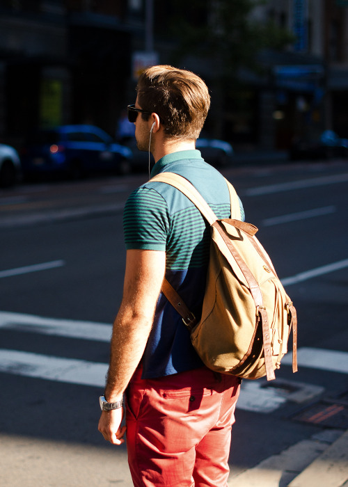 meninthistown:  Colour. Similar look: Sandqvist Bob Backpack.