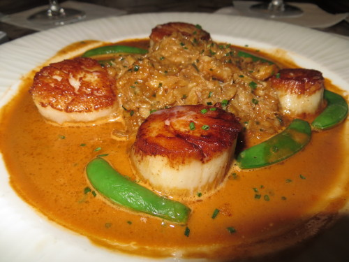 The Seared Diver Sea Scallops with Crabmeat Risotto at AquaGrill…