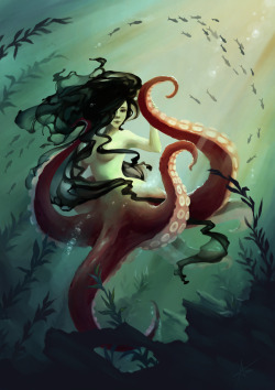 Day 8 Octomaid by ~Myrmirada —-x—- More: | Creature Week #1 | Mermaids | Random |