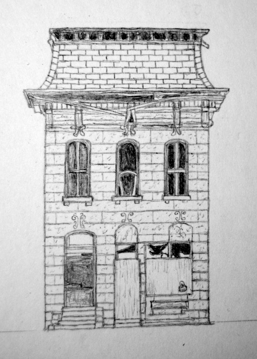 Small drawing (about 2.5 inches tall) of the building in this photo: http://digitalhomicide.deviantart.com/art/Abandoned-House-5166705I may go over this in ballpoint pen and cut the building out, and stand it up on a base of small bristol paper.  I hope to make more of these small drawings soon.  I am going to try to go out and take some photographs of houses myself (for these future drawings).(also, sorry for the photograph, I do not have convenient access to a scanner right now)