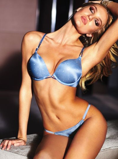 Blonde ( Candice Swanepoel ) in blue panties and bra