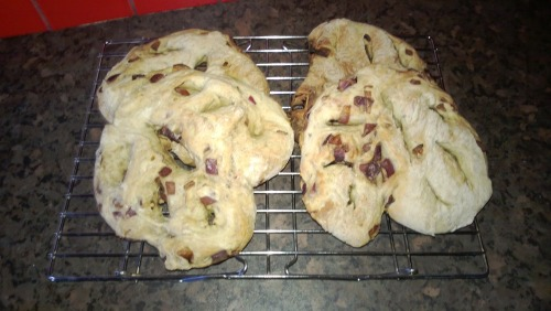 Caramelized onion and mixed herb fougasse!