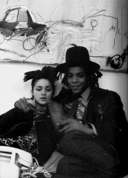 dirtyhoodies:  fashionoise:  basquiat and madonna??  he looks like kid cudi