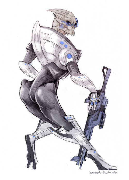 decided garrus needed a redesign. how's he supposed to be a combat specialist or a sniper while wearing full clunky armor? it's unrealistic!