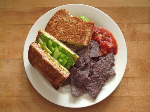 garden-of-vegan:  vegetable sandwich on sprouted grain bread: avocado, romaine lettuce, cucumber, green pepper, mustard, salt, and pepper, and blue corn tortilla chips with salsa  Love it!
