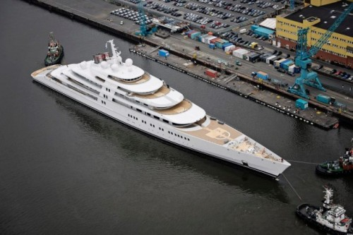 salvage-collection:  Last Friday, April 5th 2013, Germany's Lürssen Yachts launched what is now the largest superyacht in the the world. Named Azzam, the superyacht measures an astonishing 180 meters.