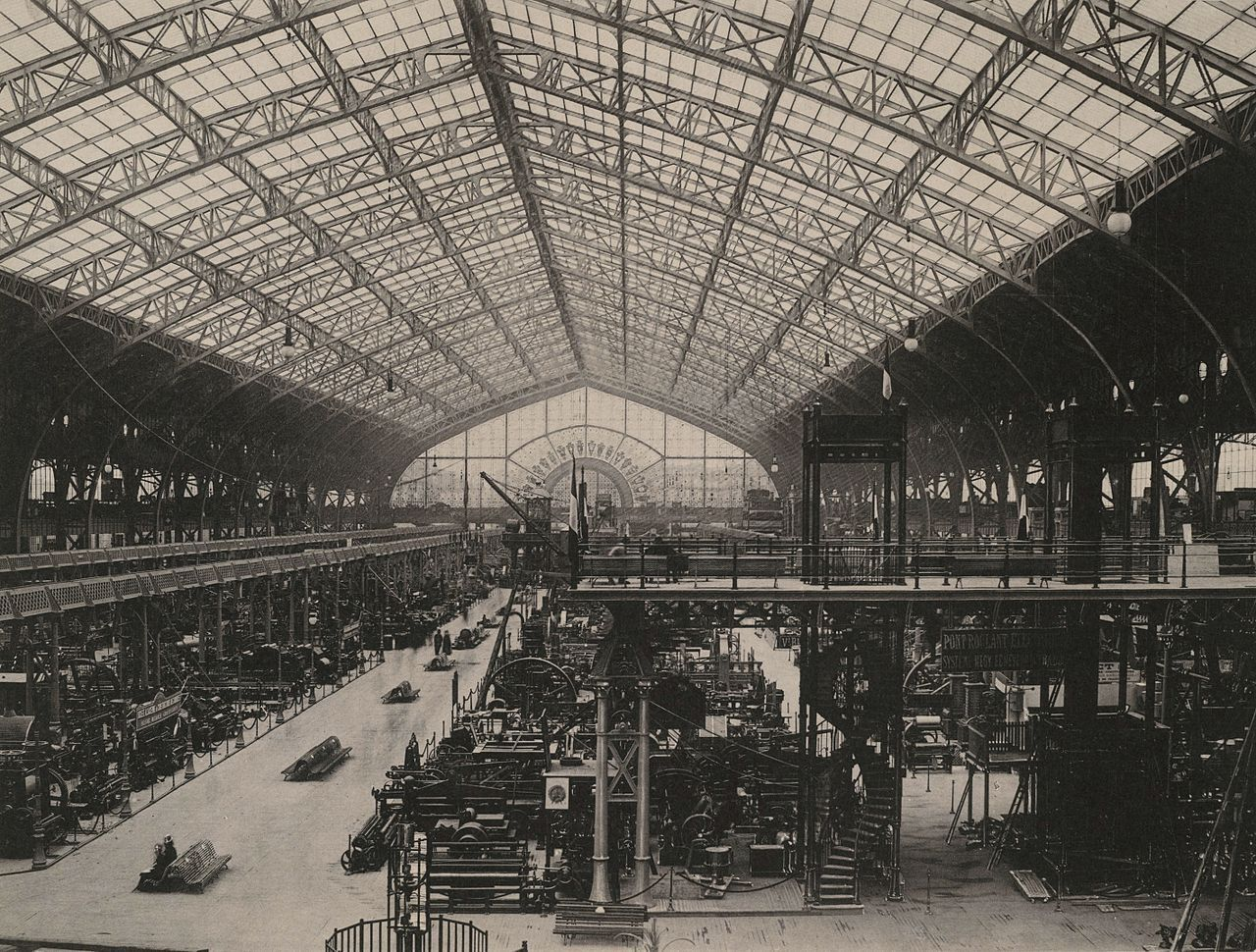 Inside the Galerie des Machines at the Exposition Universelle in 1889, Paris