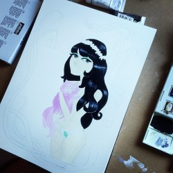 Starting to paint a new 60's babe, holding a lavender Persian kitty 🌸💜🌸