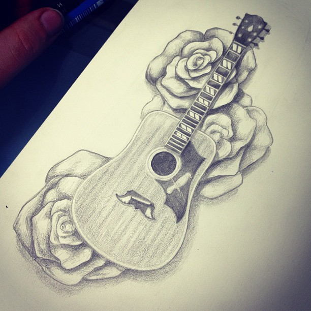 Can't wait to tattoo this next week! Just needs a few minor adjustments. #tattoo #drawing #guitar #gibson #67dove