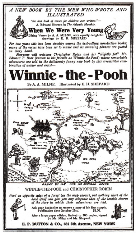 Happy  birthday, A. A. Milne! Celebrate with the very first newspaper ad for Winnie the Pooh, 1926