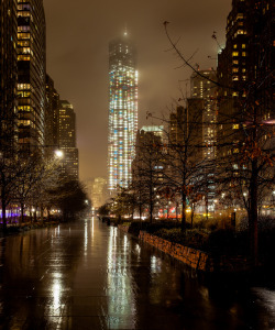 Freedom Tower in the rain.
