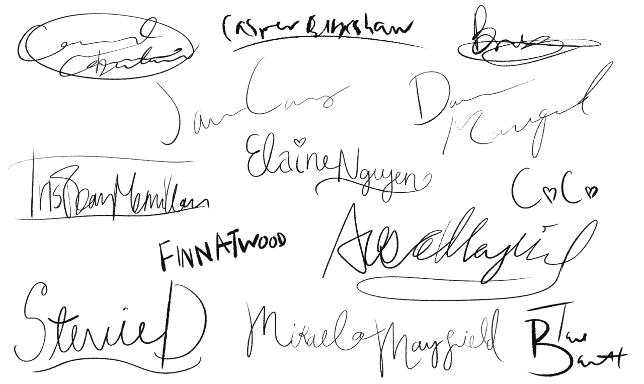 this was the first thing i did lol #finn is trying his best okay  #imagine elaines is in sparkly pink gel pen fjkjsd  #stevie totally copied elaine  #mikaelas is really slow because shes still getting used to writing mayfield  #cara practiced her signature like crazy when she thought she would be a celebrity some day #anywayyyy #goodnight