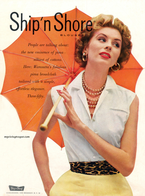 umbrellaseverywhere:  Ship n' Shore 1953 - Suzy Parker