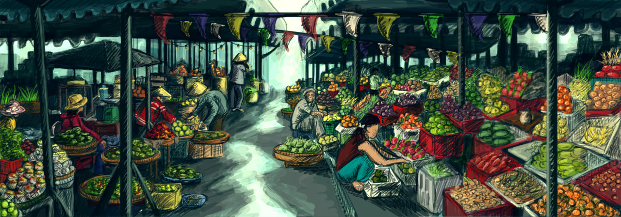 Finished Asian Market Concept Art source
