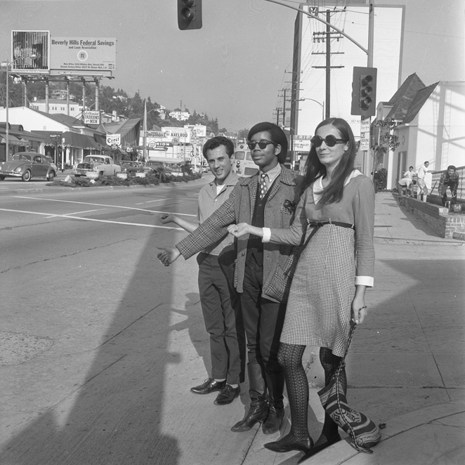 Hitchhiking on the Sunset Strip. Los Angeles, 1966.