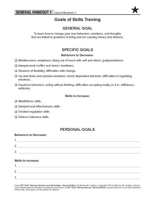 dbt skills training worksheets pdf
