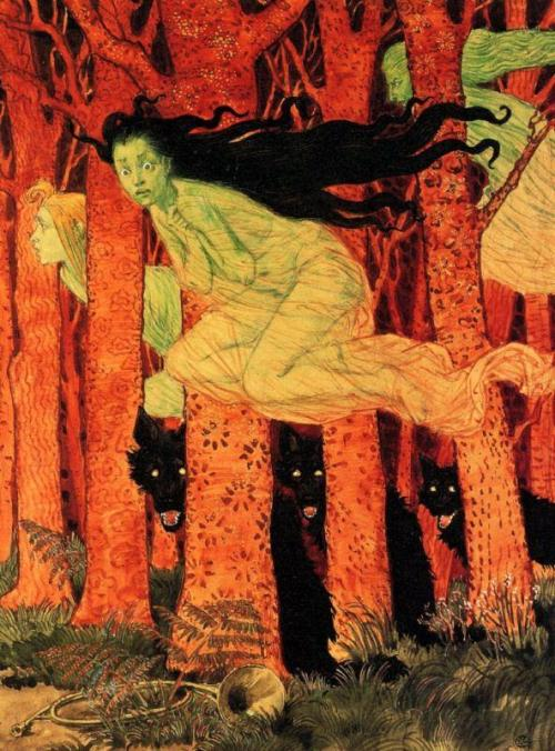 Eugène Samuel Grasset, Three Women with Three Wolves, 1900
