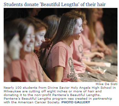 Students at DSHA donated their hair to the Greater Lengths program to create wigs for cancer patients. See more pictures of our girls at the assembly!