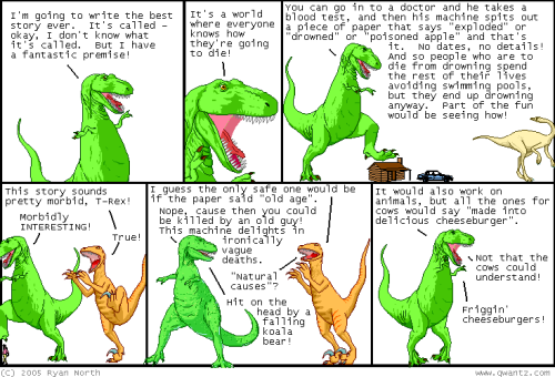 Origins of the Machine of Death :: Dinosaur Comics And now 8 years later, here's the Kickstarter based on the that initial concept.