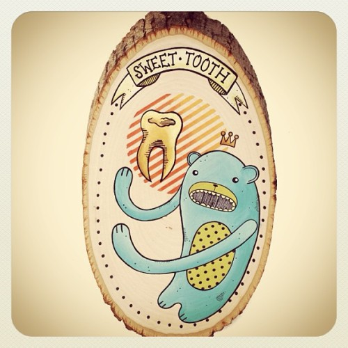 Painting on Wood By Jesi Rodgers - http://www.shanalogic.com/new-arrivals/original-painting-on-wood-sweet-tooth.html #tooth #bear #painting #fineart